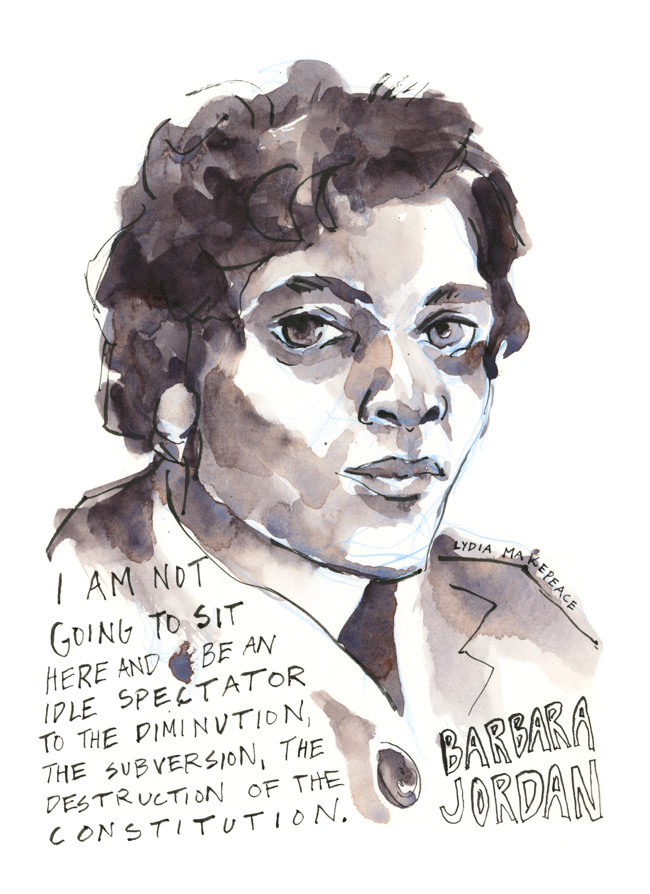 """Portrait of Barbara Jordan with quote. """"I am not going to sit here and be an idle spectator to the diminution, the subversion, the destruction, of the Constitution."""" (2019, Watercolor and ink on paper, 9"""" x 12"""", by Lydia Makepeace)"""