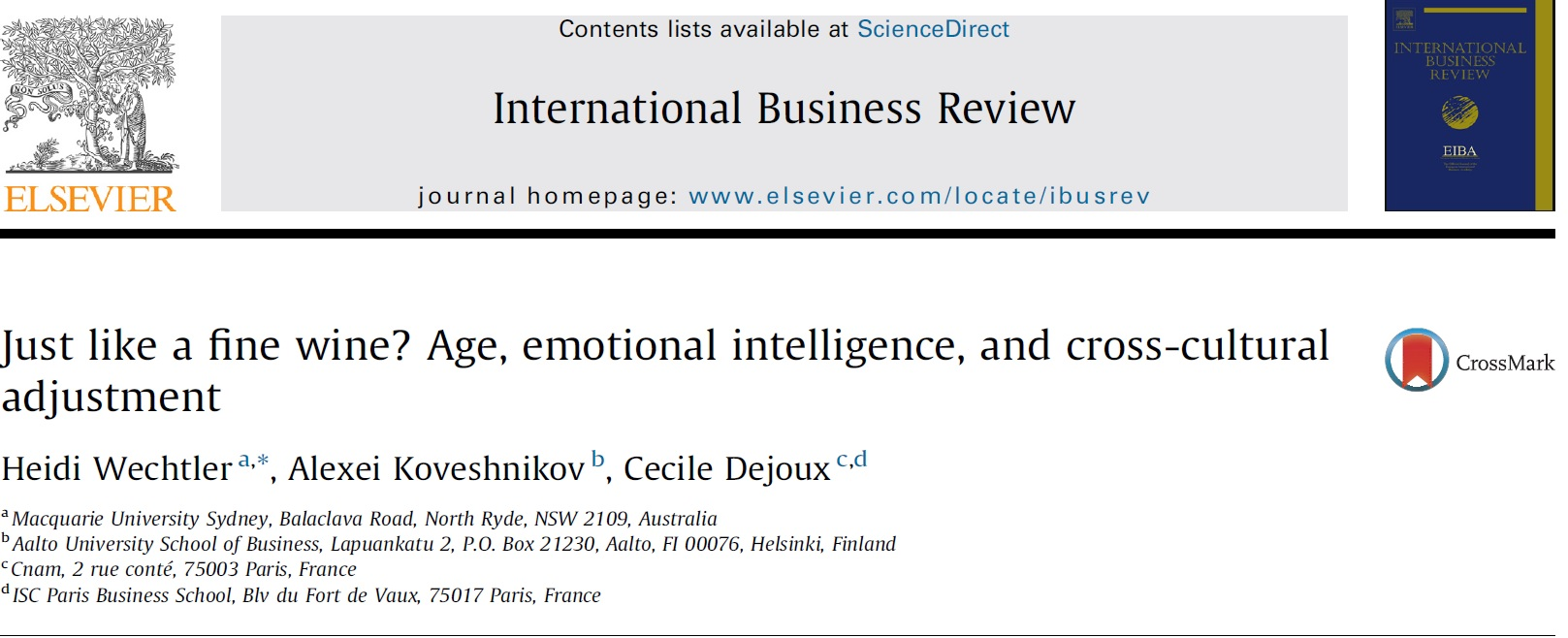- In this study, we use socioemotional selectivity theory to shed light on the role of expatriates' age in the relationship between emotional intelligence (EI) and cross-cultural adjustment (CCA) of expatriates on assignment.Overall, our analysis is one of the first attempts to provide a more detailed theoretical understanding of the relationships between age, expatriation experience, EI and CCA in the context ofexpatriation. (2014)