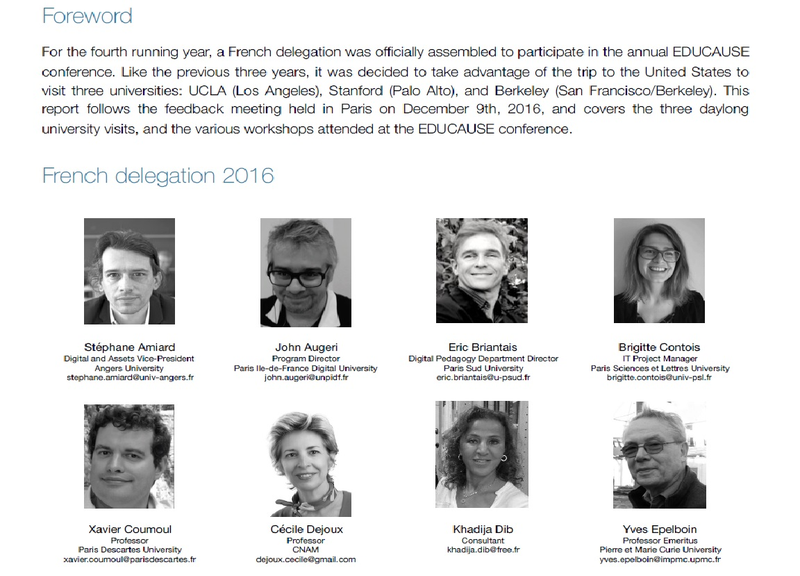 EDUCAUSE annual conference 2016Visits to UCLA, Stanford & BerkeleyFrench delegation report. -