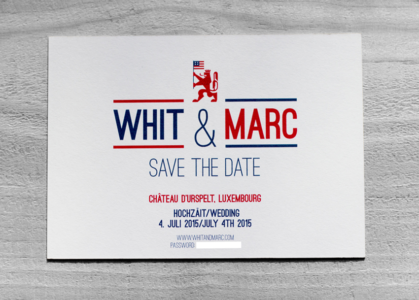 Invitations were printed by the good people at moo.com as Luxe postcards with a red seam.