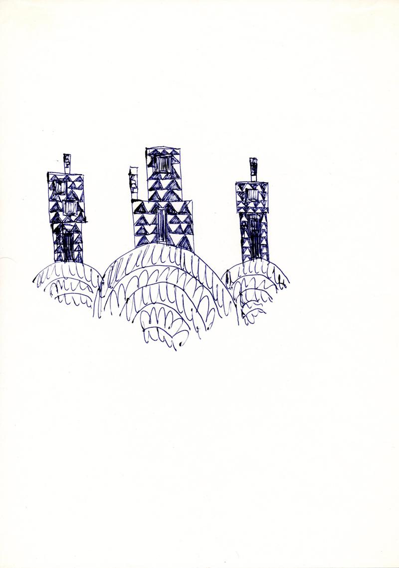 1042 , 1980-1999, pen on paper, 21 x 29,7 cm