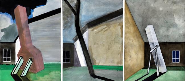 Skoskyrkogarden (Asplund) , 1985, triptych, gouache, 3 x 31 x 23 cm