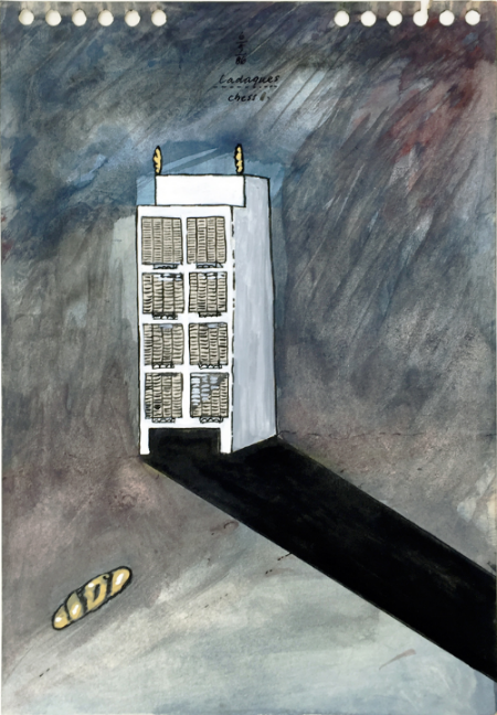 Cadaques - 1 , 1986, gouache, 23 x 16 cm
