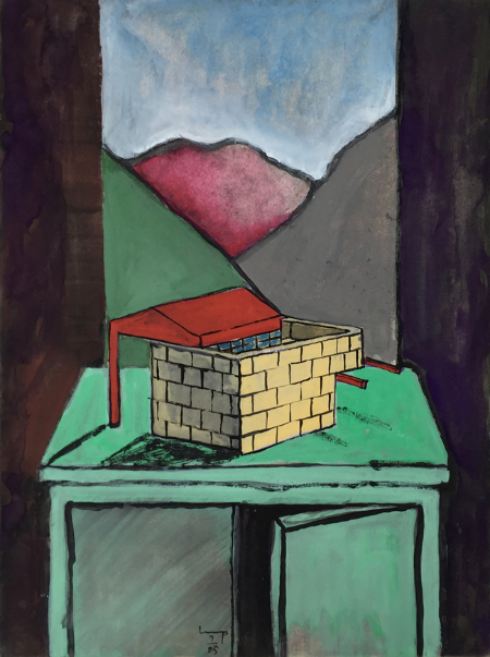 Lukamanier Pass - 3 , 1985, gouache, 24 x 18 cm