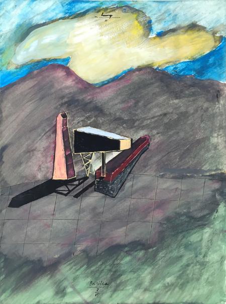 Lukamanier Pass - 5 , 1985, gouache, 24 x 18 cm