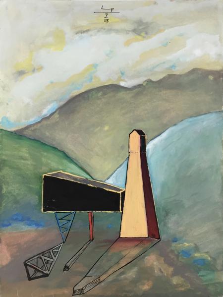 Lukamanier Pass - 6 , 1985, gouache, 24 x 18 cm