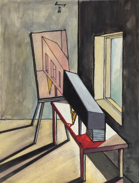 1234 House - 3 , 1985, gouache, 24 x 18 cm