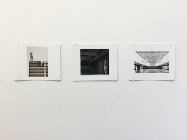 Exhibition view, from left to right:  Veemgebouw Eindhoven (2007-2010) ,  Nottingham Contemporary (2004-2009), Campus di Mendrisio (2015),  photographs, 2017, 16.8 x 21 cm, each is an edition of 7