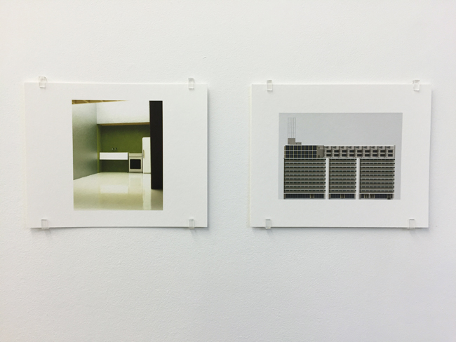 Exhibition view, from left to right:  Parasite – study for an exhibition (2000) ,  Veemgebouw Eindhoven (2007-2010) ; photographs, 2017, 16.8 x 21 cm, each is an edition of 7