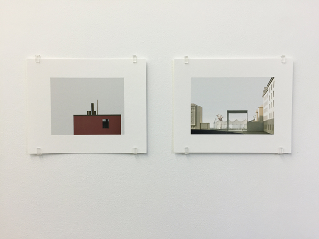 Exhibition view, from left to right:  Nagelhaus Zürich (2007-2010),   Musée cantonal des Beaux-Arts Lausanne (2011),  photographs, 2017, 16.8 x 21 cm, each is an edition of 7