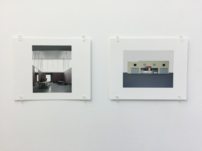 Exhibition view, from left to right:  Campus di Mendrisio (2015), Nagelhaus Zürich (2007-2010),  photographs, 2017, 16.8 x 21 cm, each is an edition of 7