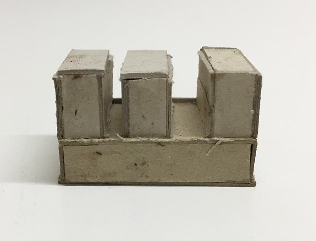 Study model for Novartis building, cardboard, 24 x 41 x 23 mm