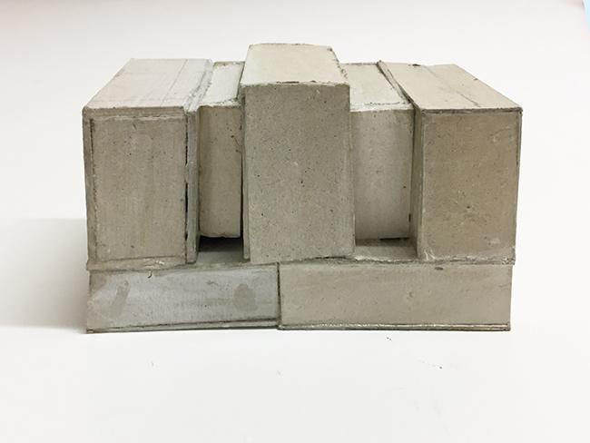 Study model for Novartis building, cardboard, 63 x 118 x 65 mm