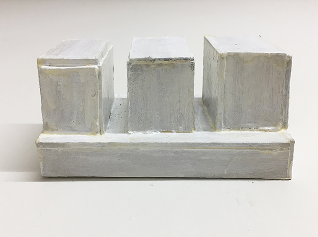 Study model for Novartis building, paint and cardboard, 47 x 103 x 47 mm