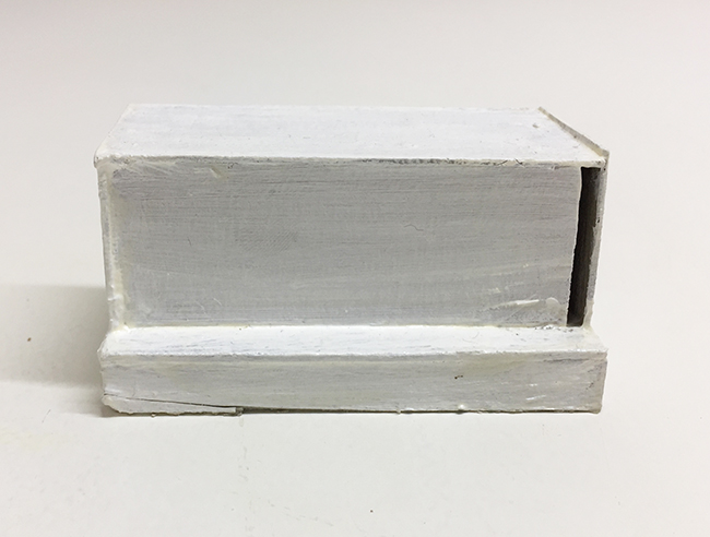 Study model for Novartis building, paint and cardboard, 38 x 76 x 38 mm