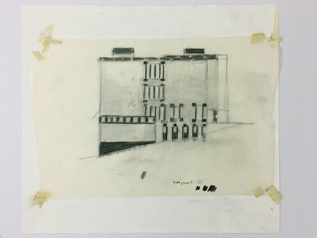 Belvoirpark,  2009, tape and pastel on tracing paper, 46 x 53 cm