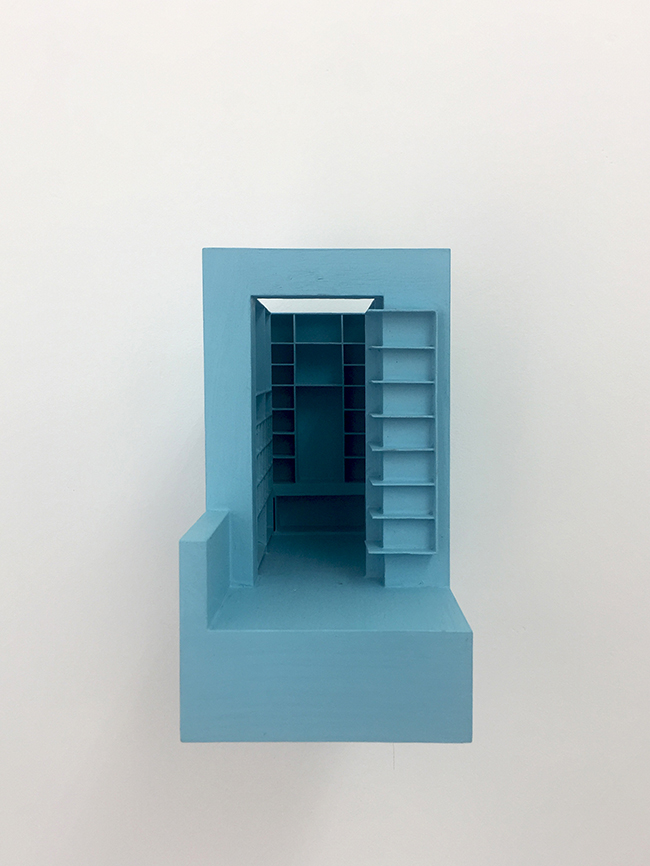 Blue Model , 2013, wood and paint, 18 x 10 x 17.5 cm