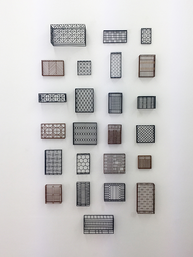 Window grids , 2016, wood and paint, varied sizes