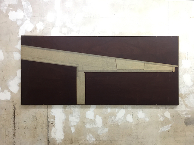 Tape drawing , 2013, pencil and tape on wood, 83 x 185 x 1.5 cm