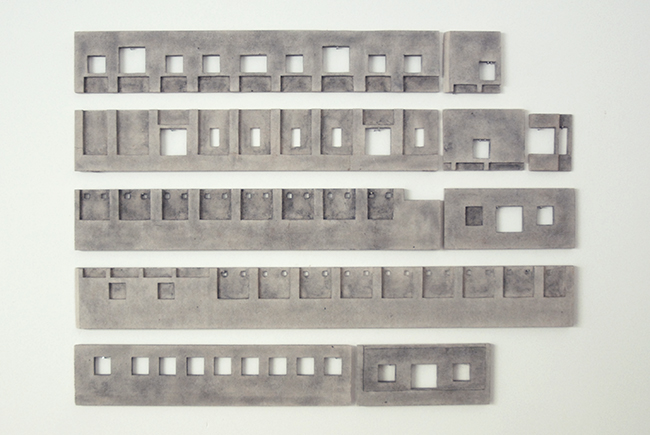 Facade , 2014, graphite and cardboard, 39 x 53 cm