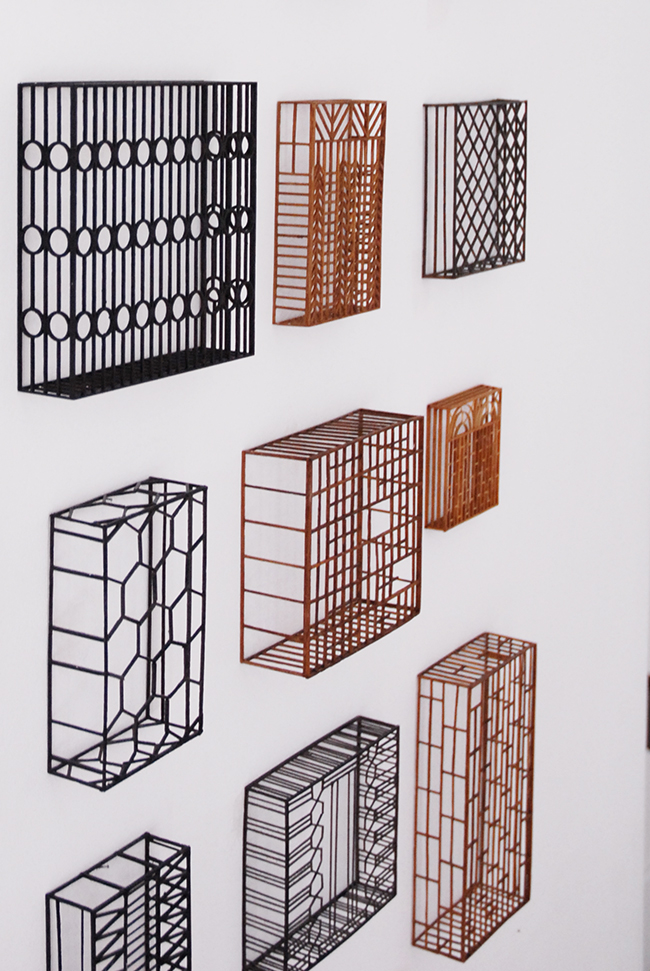 Window grids , 2016, wood and paint