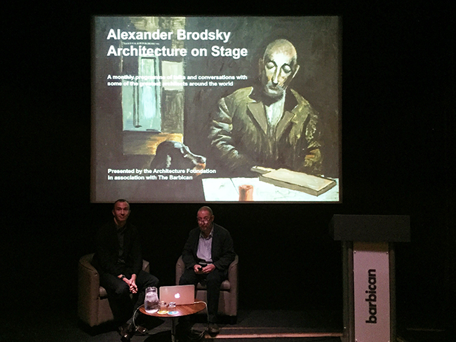 On the eve of the preview: Architecture on Stage with Thomas Weaver and Alexander Brodsky. Event presented by the Architecture Foundation in association with the Barbican.