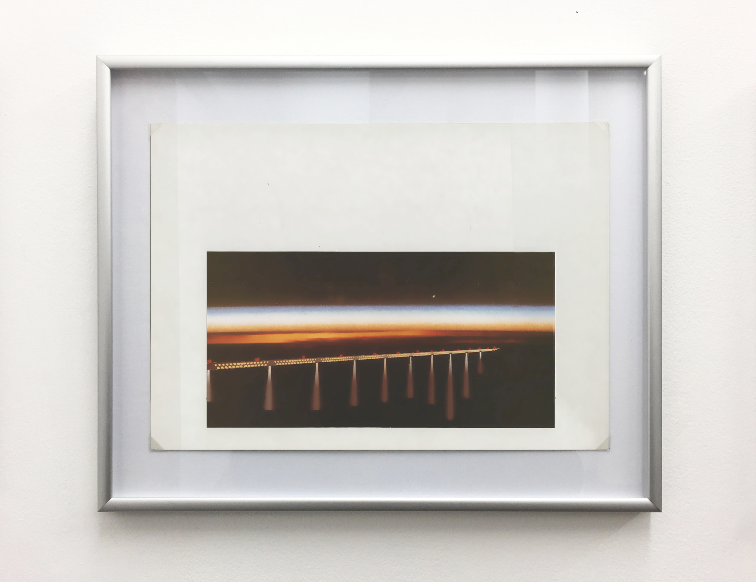 Millau Viaduct - Night Time , 1994, computer drawing printed on photo paper, cardboard