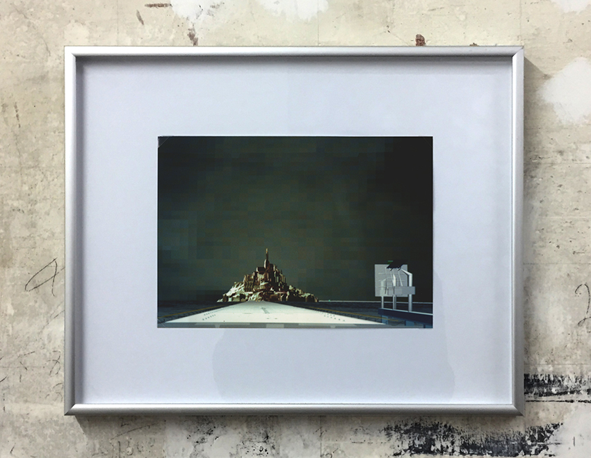 Mont St. Michel with Mirror , 1990, computer drawing printed on photo paper
