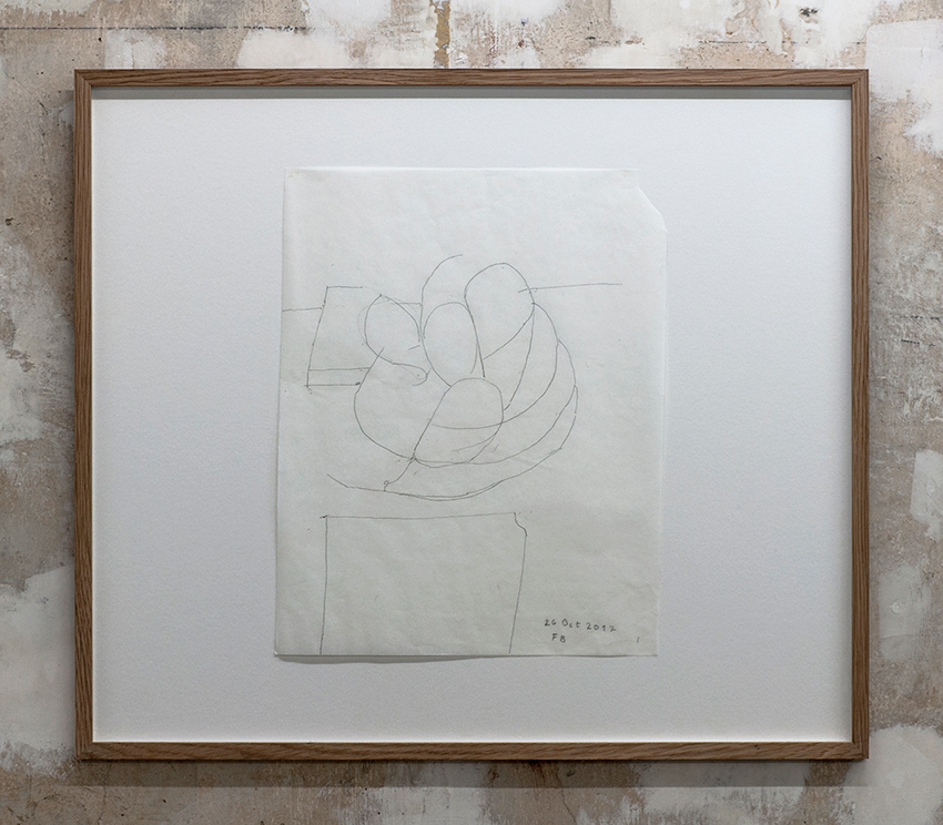 Florian Beigel,  Still life 22_171026 , 2017, pencil on greaseproof paper, 375 x 296 mm