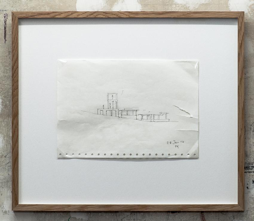 Florian Beigel,  104 Village 01_140128 , 2014, pencil on computer printing paper, 195 x 280 mm