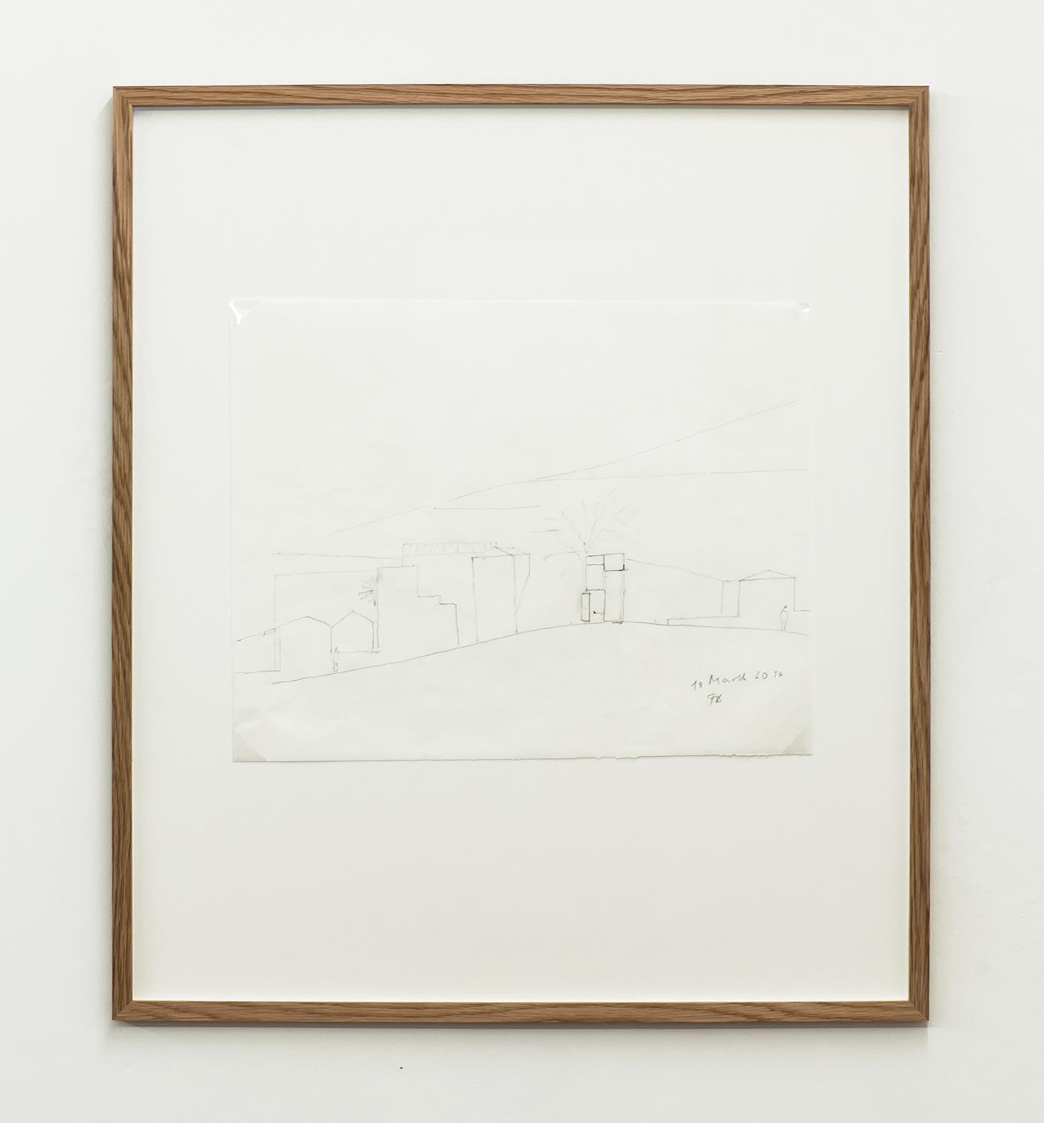 Florian Beigel,  104 Village 07_140310 , 2014, pencil on greaseproof paper, 298 x 375 mm