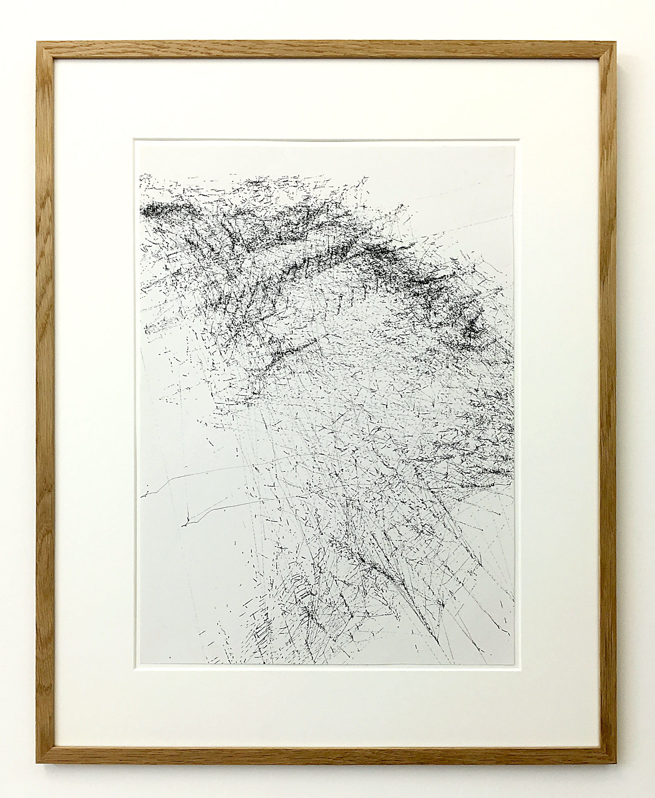Freigeregelte apparative Zeichnungen (Untitled No.4) , 1990, magnetically manipulated plotter drawing / ink on paper, 58 x 45.5 cm
