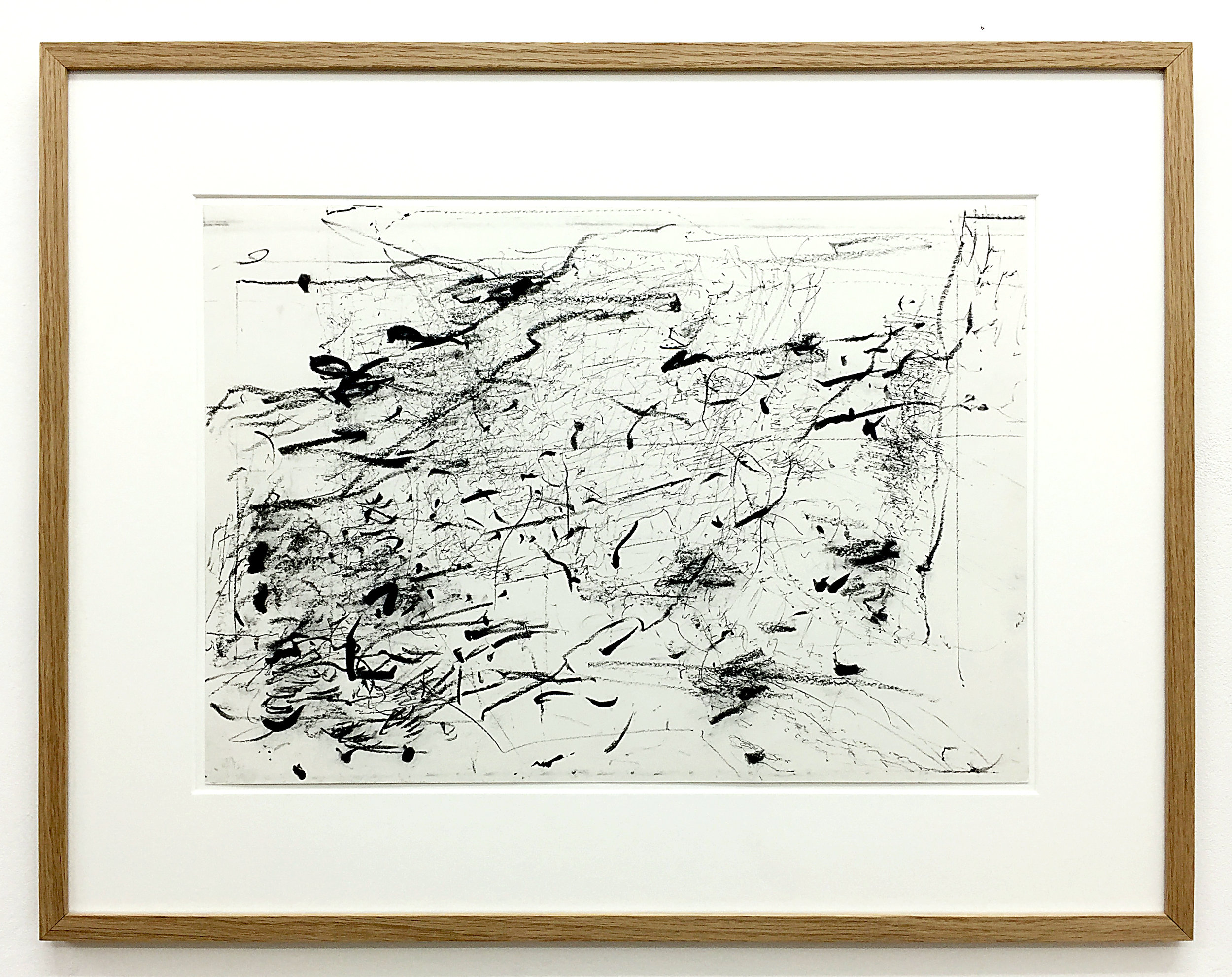 Freigeregelte apparative Zeichnungen (Untitled No.8) , 1990, magnetically manipulated plotter drawing / pencil on paper, 45.5 x 58 cm