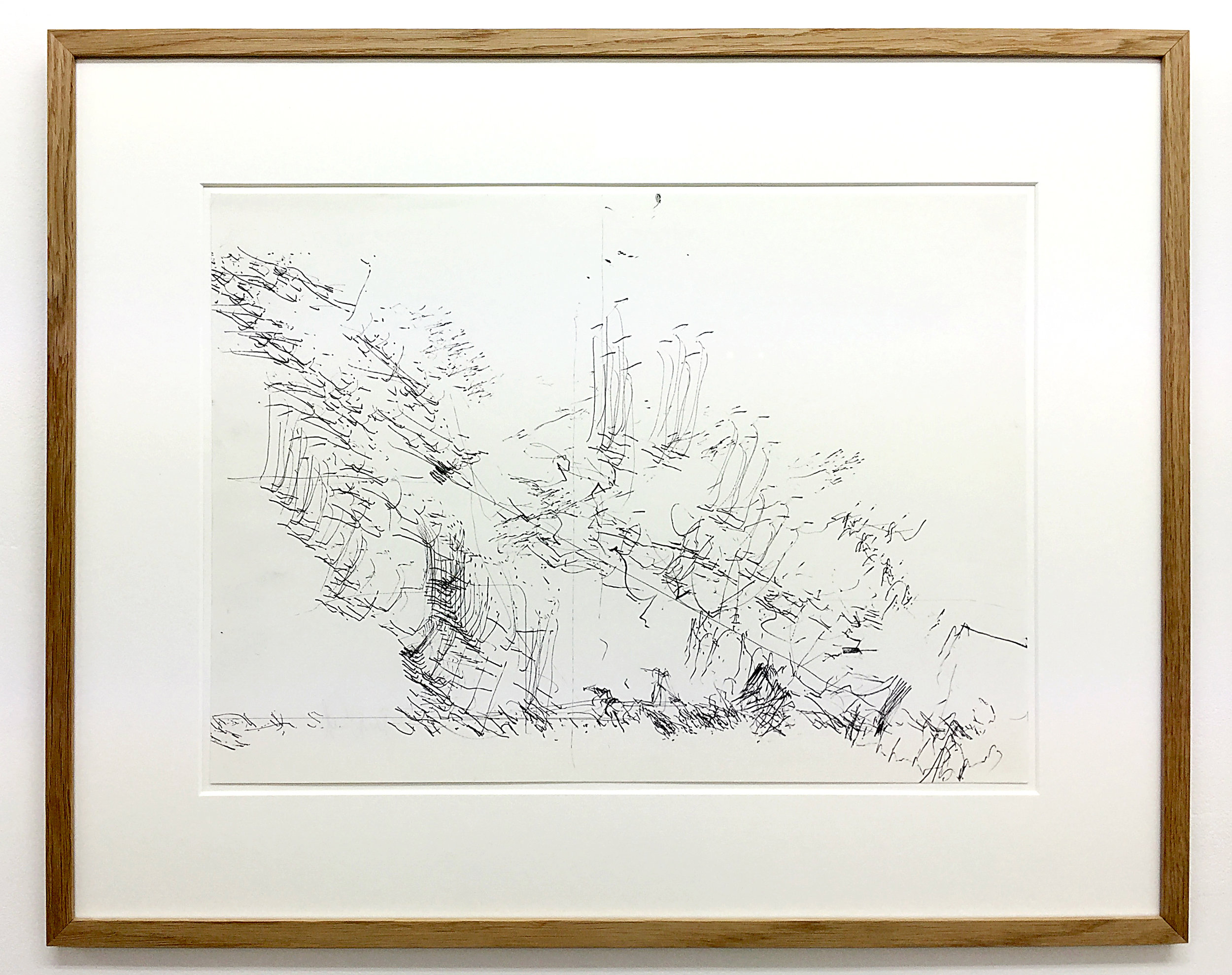 Freigeregelte apparative Zeichnungen (Untitled No.5) , 1990, magnetically manipulated plotter drawing / ink on paper, 45.5 x 58 cm