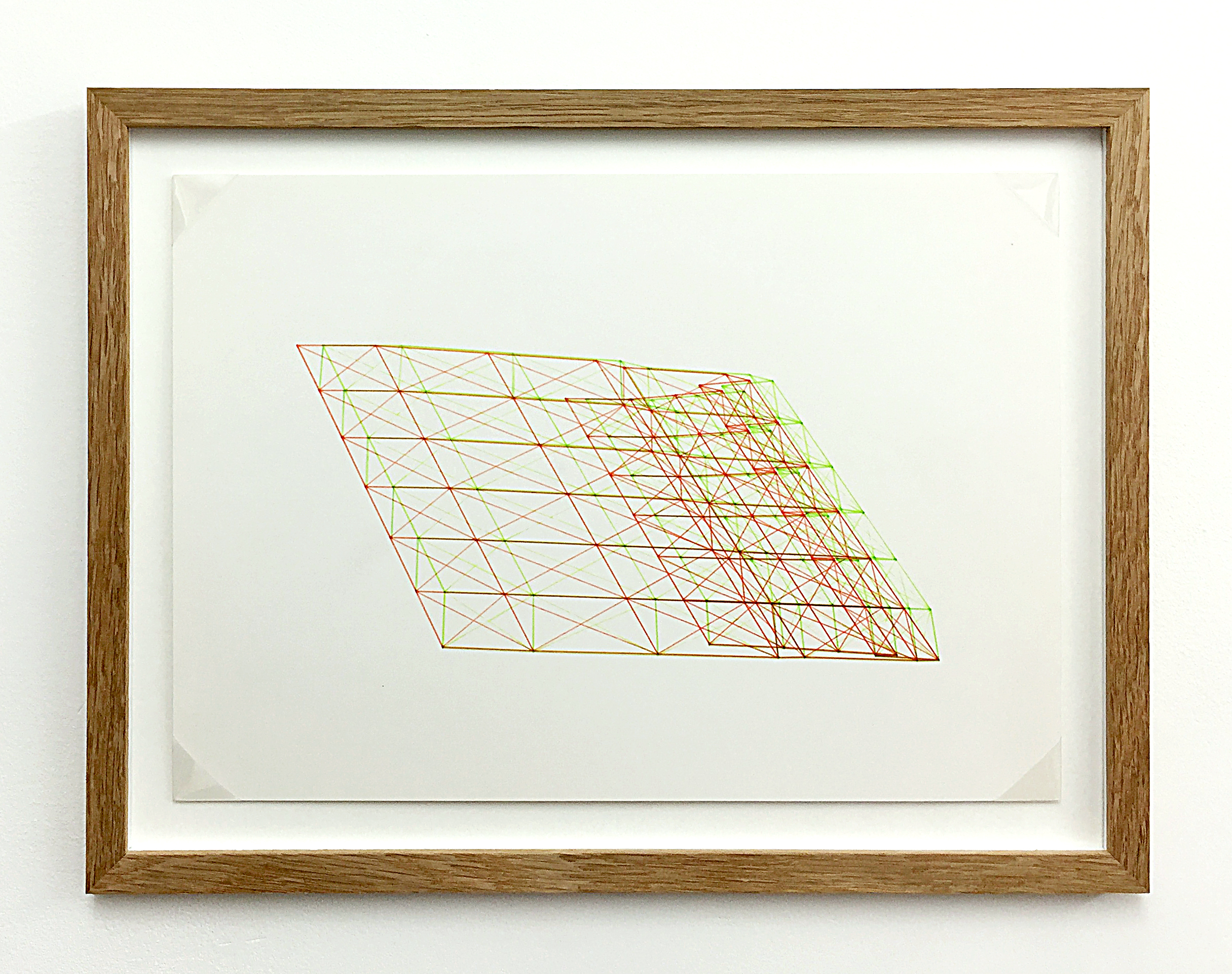 Anaglyph 3D drawing (Untitled No.10) , 1988, plotter drawing-ink on paper, 26.5 x 35 cm