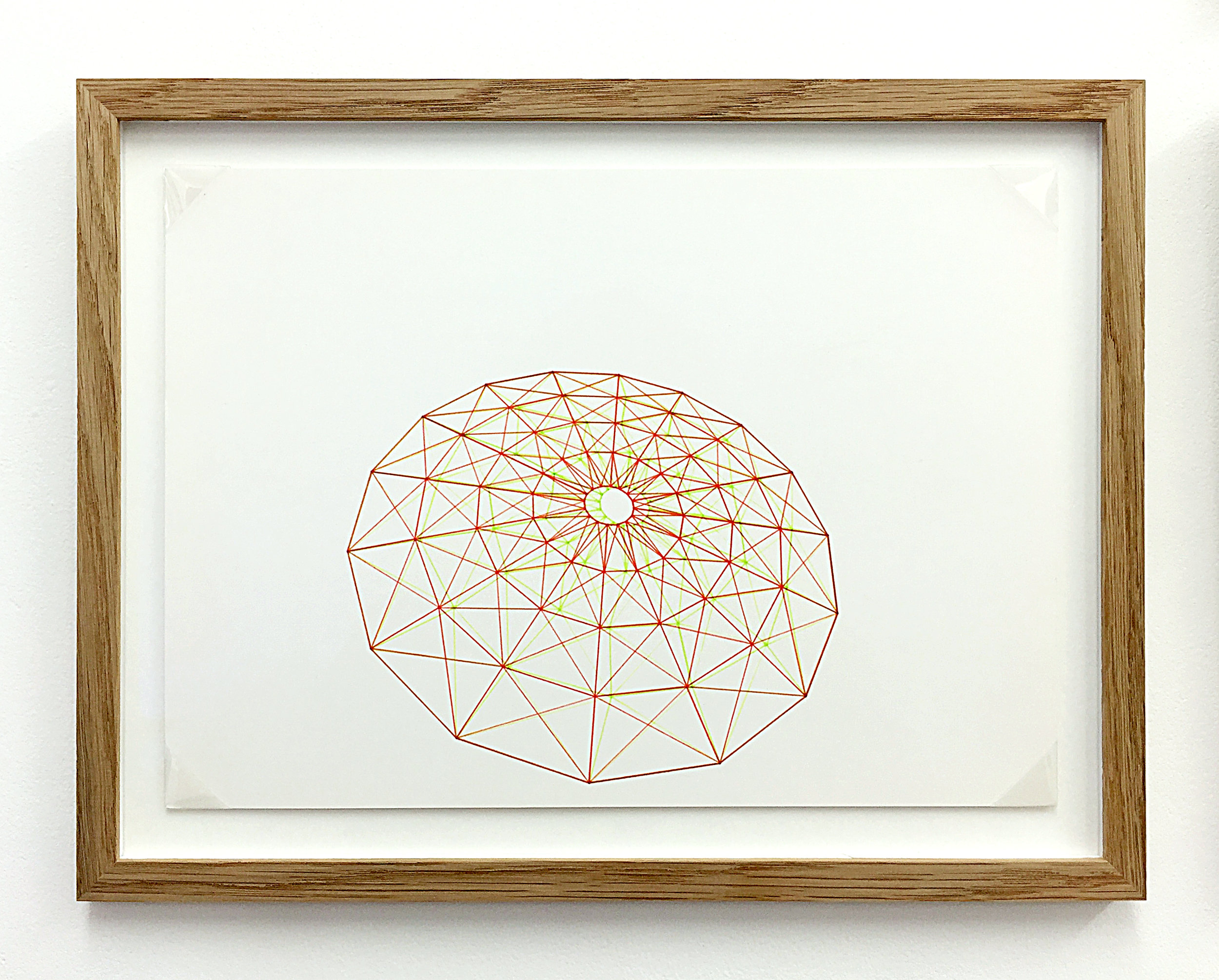 Anaglyph 3D drawing (Untitled No.2) , 1988, plotter drawing-ink on paper, 26.5 x 35 cm