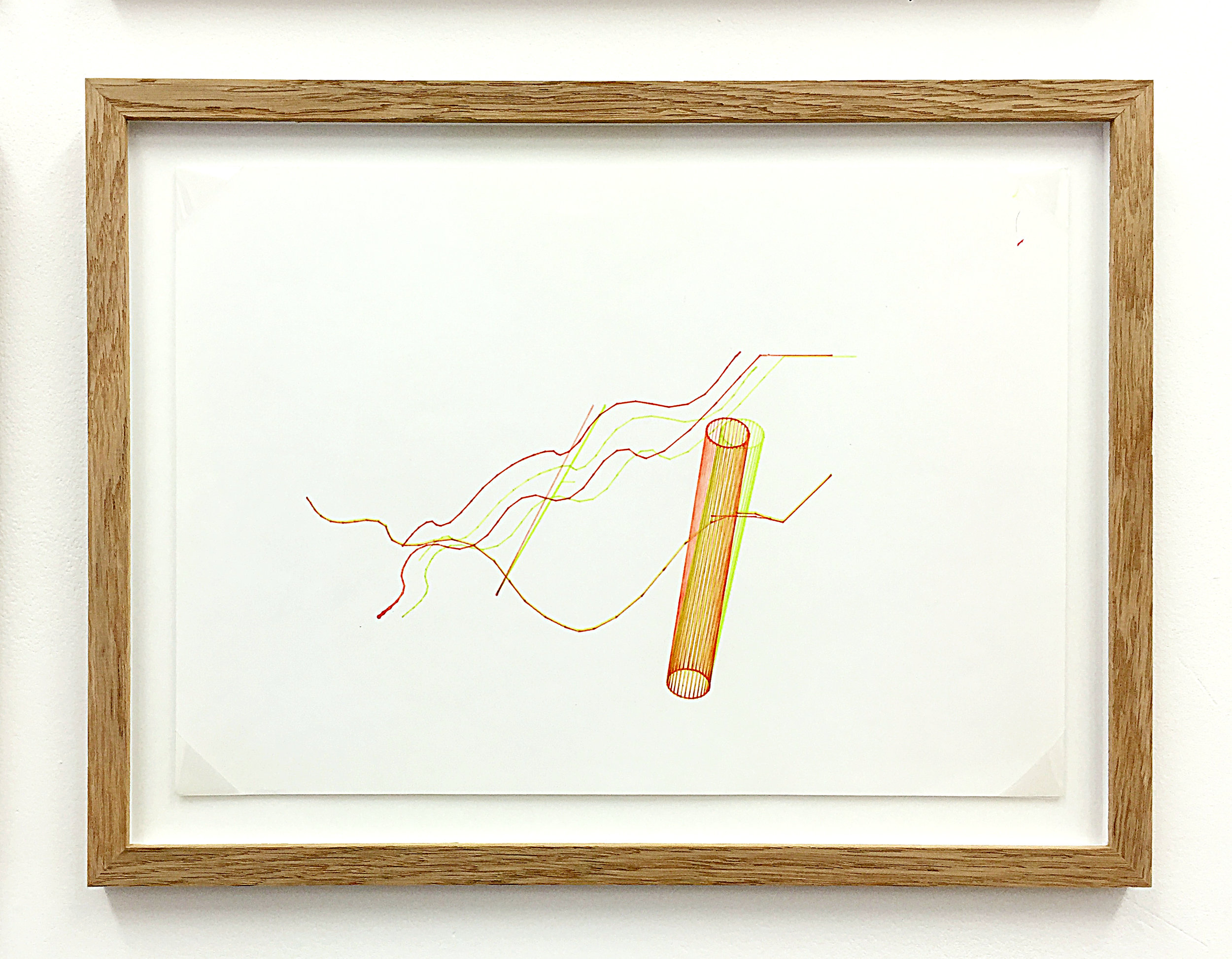 Anaglyph 3D drawing (Untitled No.9) , 1988, plotter drawing-ink on paper, 26.5 x 35 cm