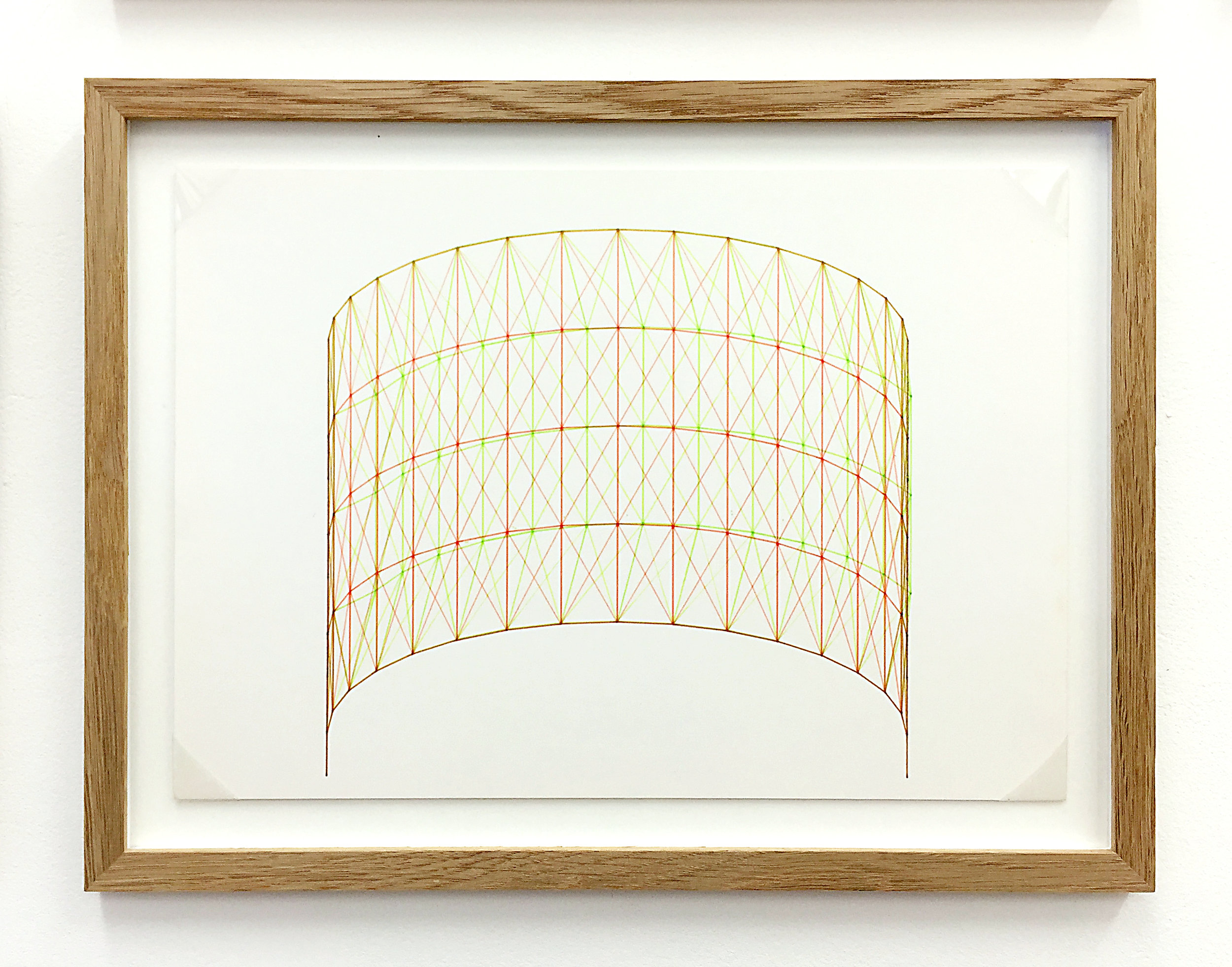 Anaglyph 3D drawing (Untitled No.4) , 1988, plotter drawing-ink on paper, 26.5 x 35 cm