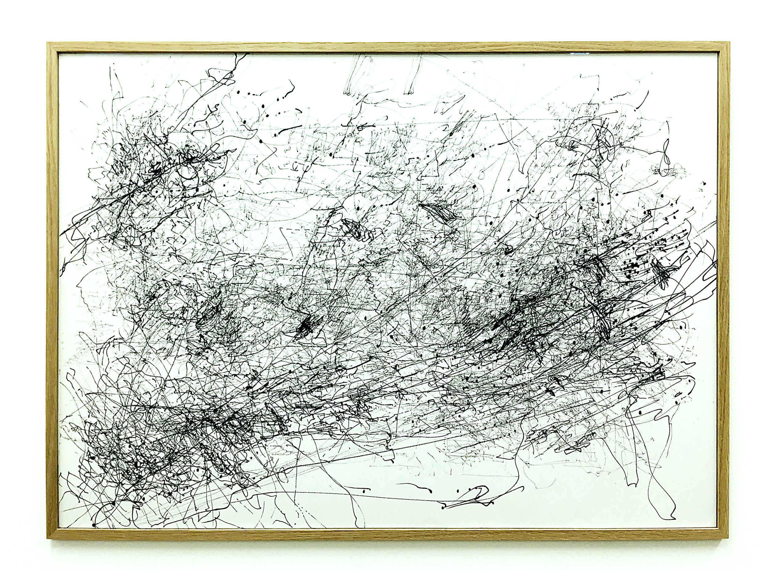 Freigeregelte apparative Zeichnungen (Untitled No.11) , 1990, magnetically manipulated plotter drawing / ink on paper, 63.5 86.5 cm