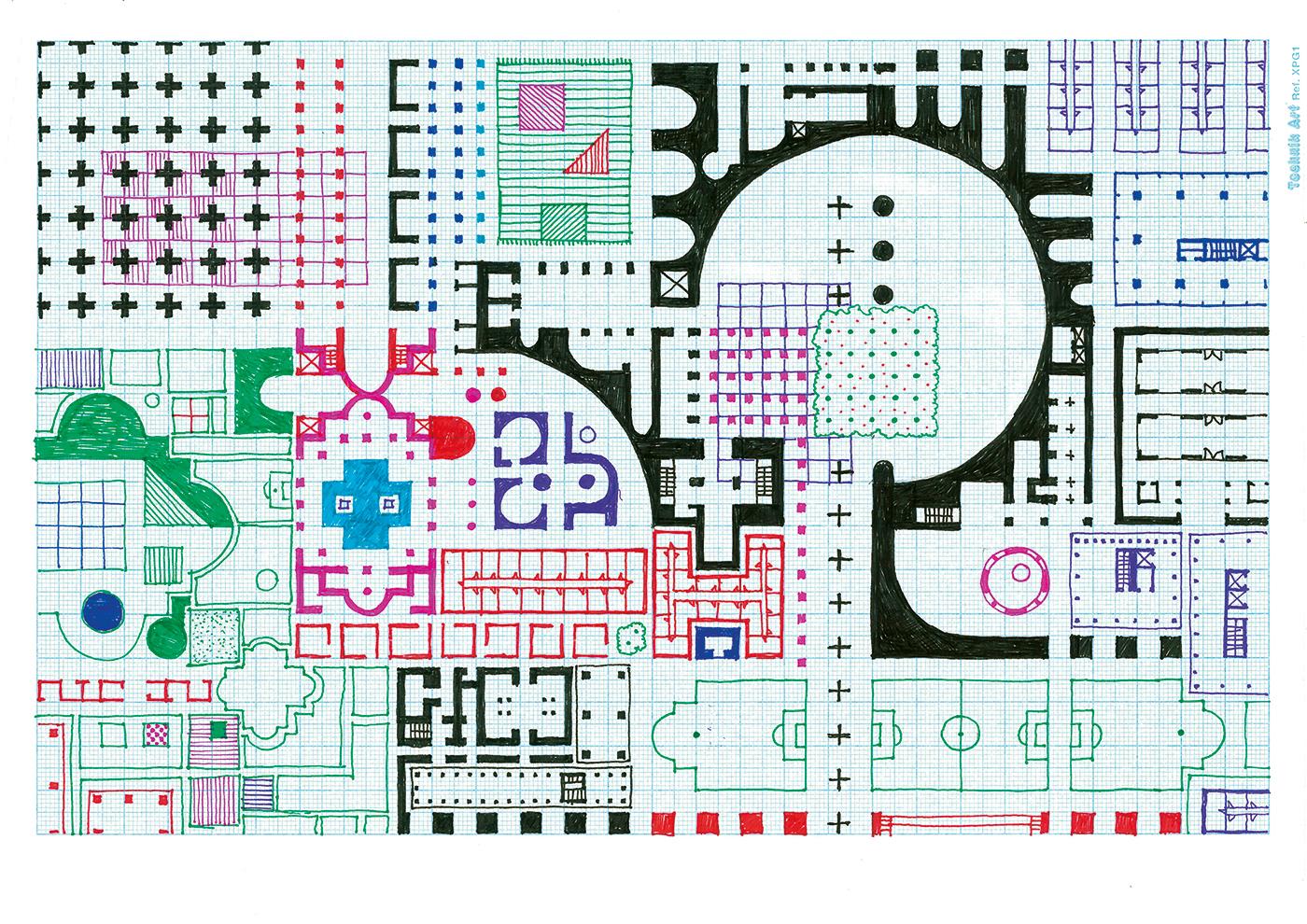 Empire of Ice Cream No.7 , 2018  ink on graph paper 21 x 29.7 cm