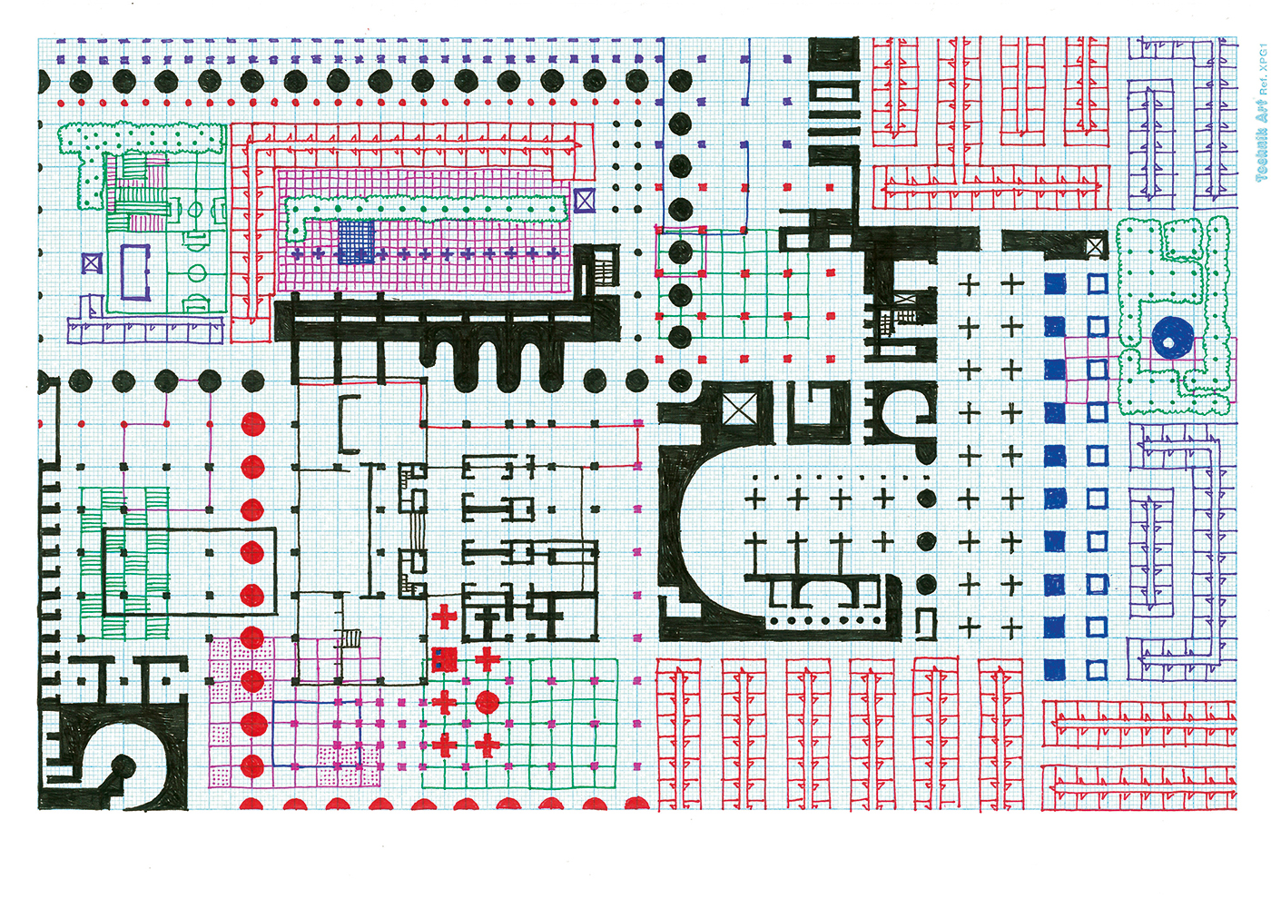 Empire of Ice Cream No.3 , 2011  ink on graph paper 21 x 29.7 cm
