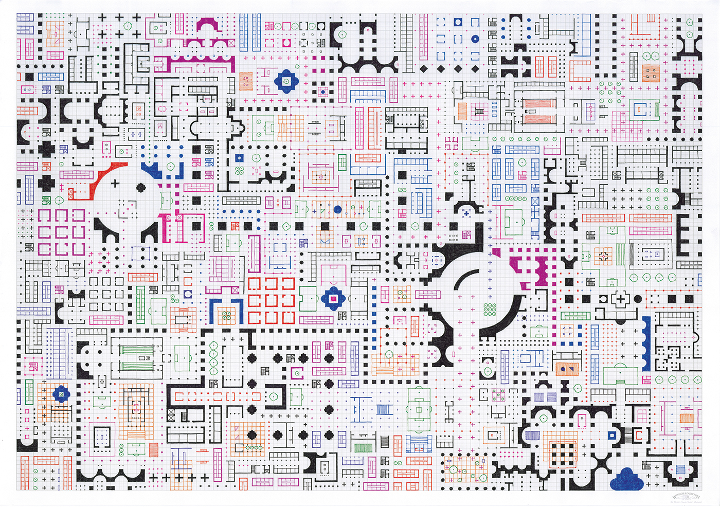 Empire of Ice Cream No.12 , 2019 ink on graph paper 59.4 x 84.1 cm
