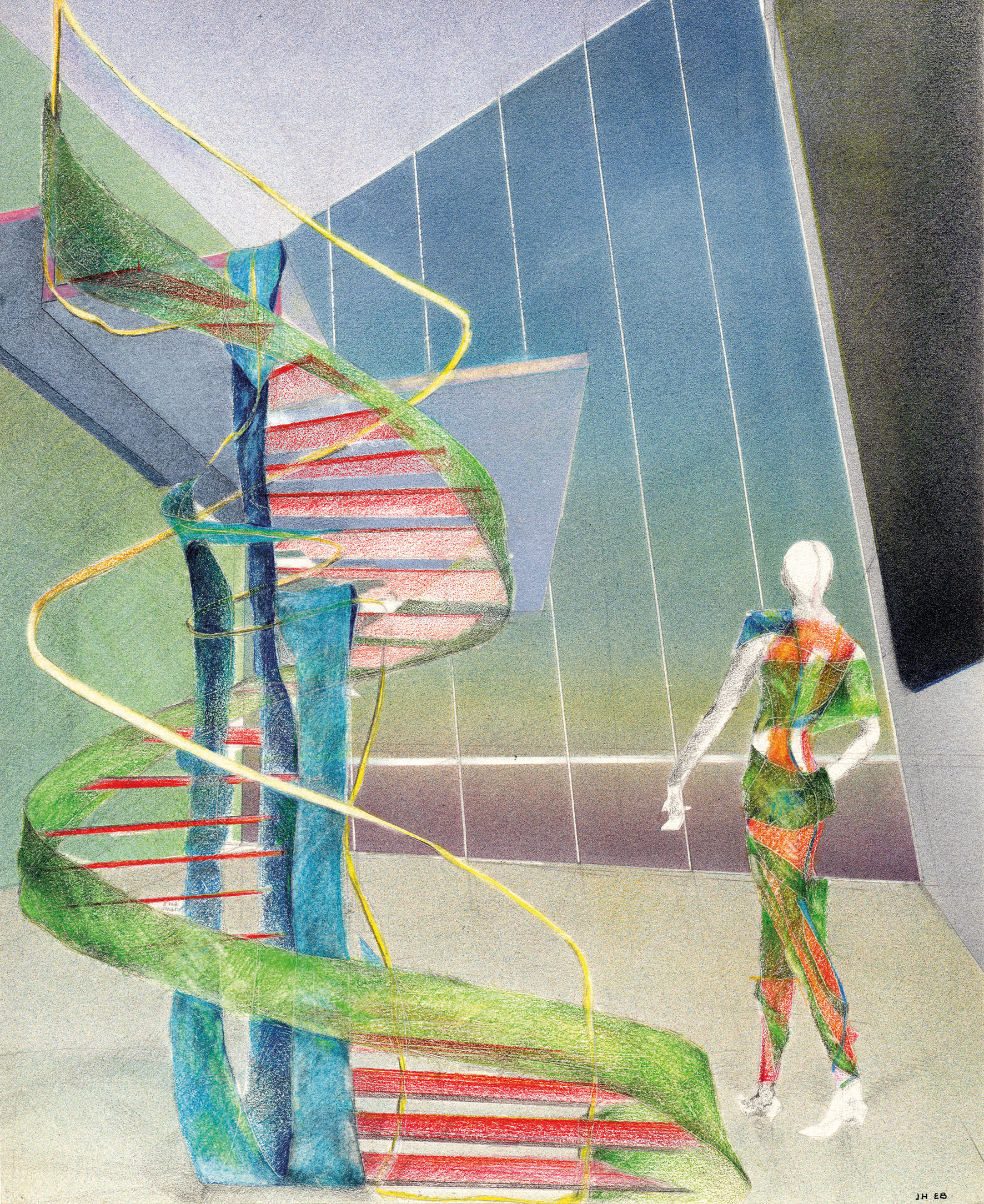 Reminiscences / The textile-staircase: change your mind as often as you change your underwear , 1985 Airbrush painting, pencil on paper 25.7 x 21.2 cm