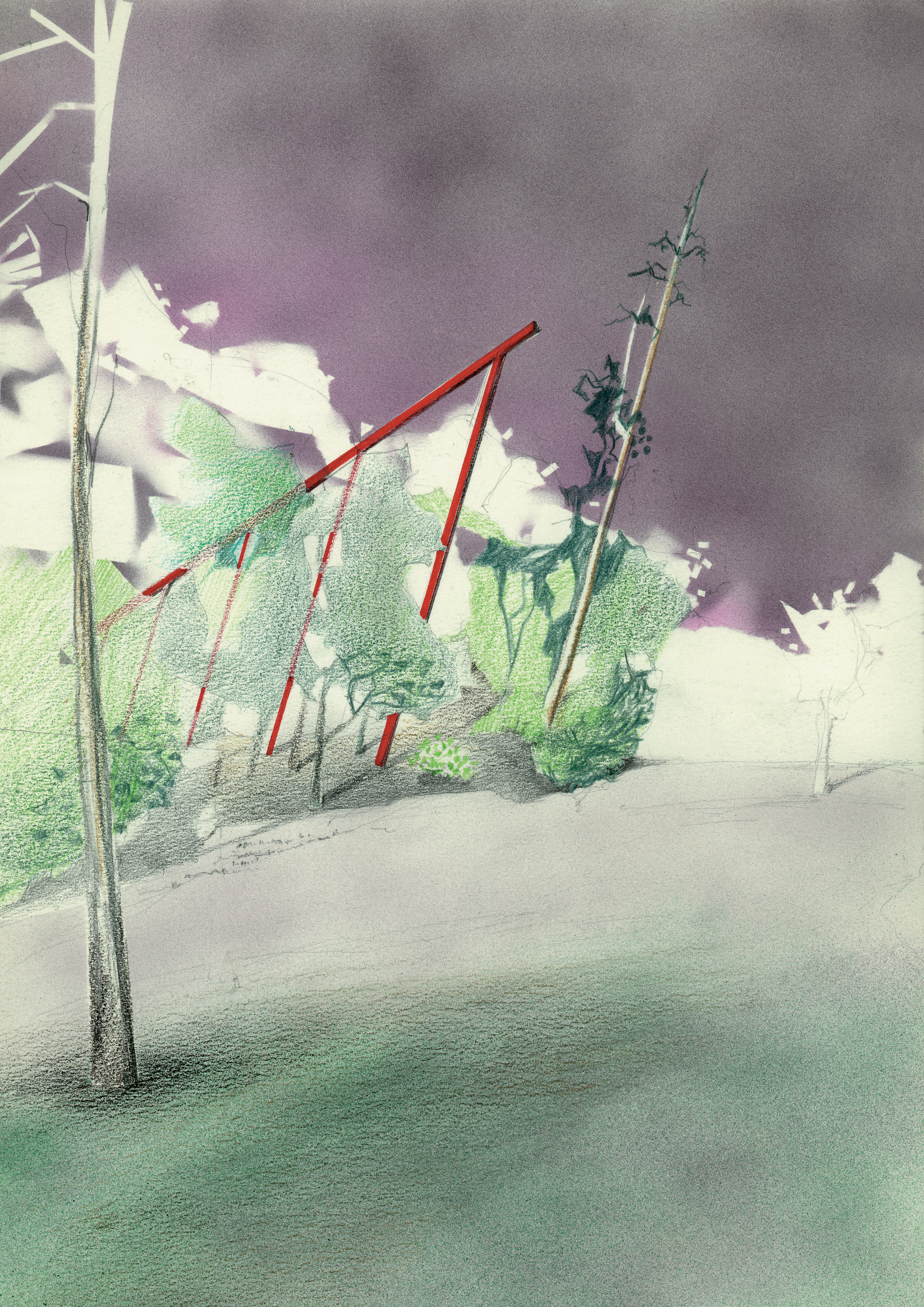 Untitled (Fountain of Time) No.2 , 1984 Airbrush painting, pencil on paper 26.8 x 19 cm