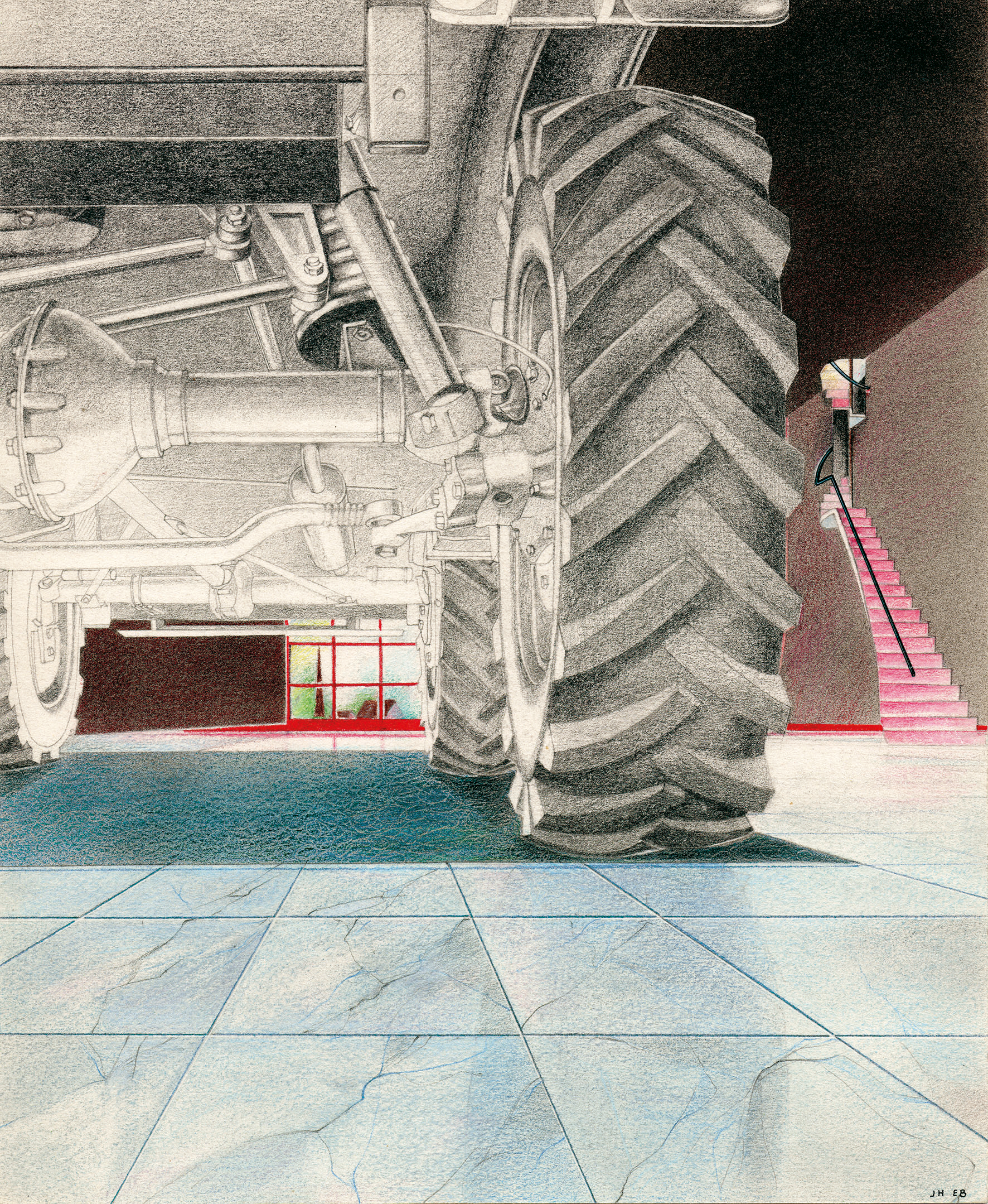Reminiscences / The furniture-car,  1985 Airbrush painting, pencil on paper 25.7 x 21.2 cm