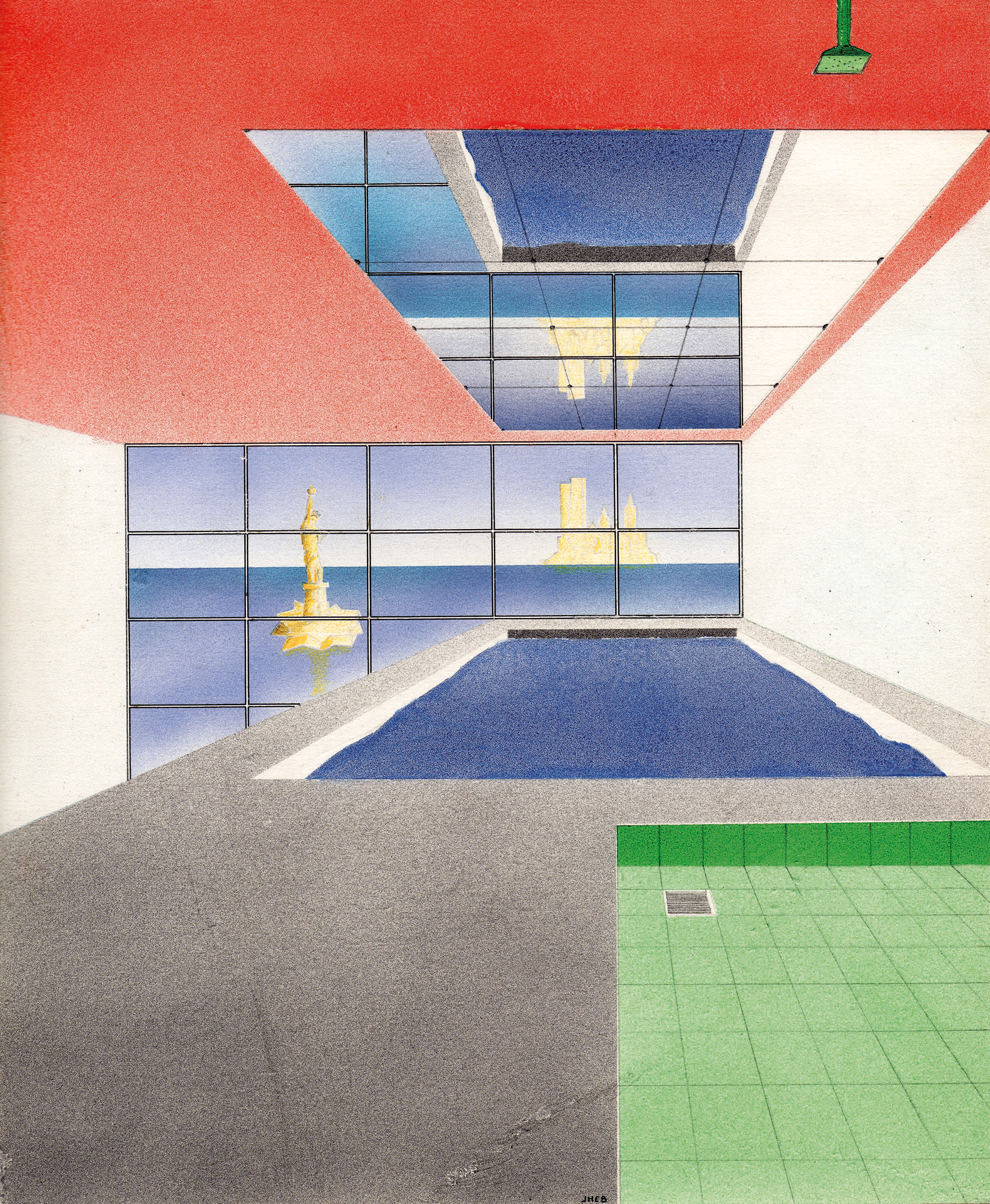 Reminiscences / The bath-pool for Rem Koolhaas, 1985 Airbrush painting, pencil on paper 25.7 x 21.2 cm