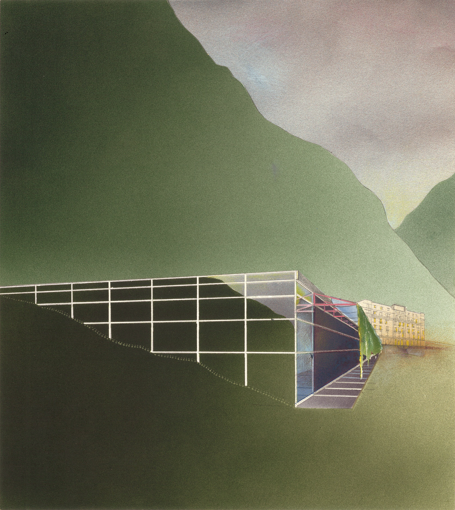 Station thermale, La Léchère (Savoie) No.126 , 1986 Airbrush painting, pencil and collage on paper 30.3 x 27.2 cm
