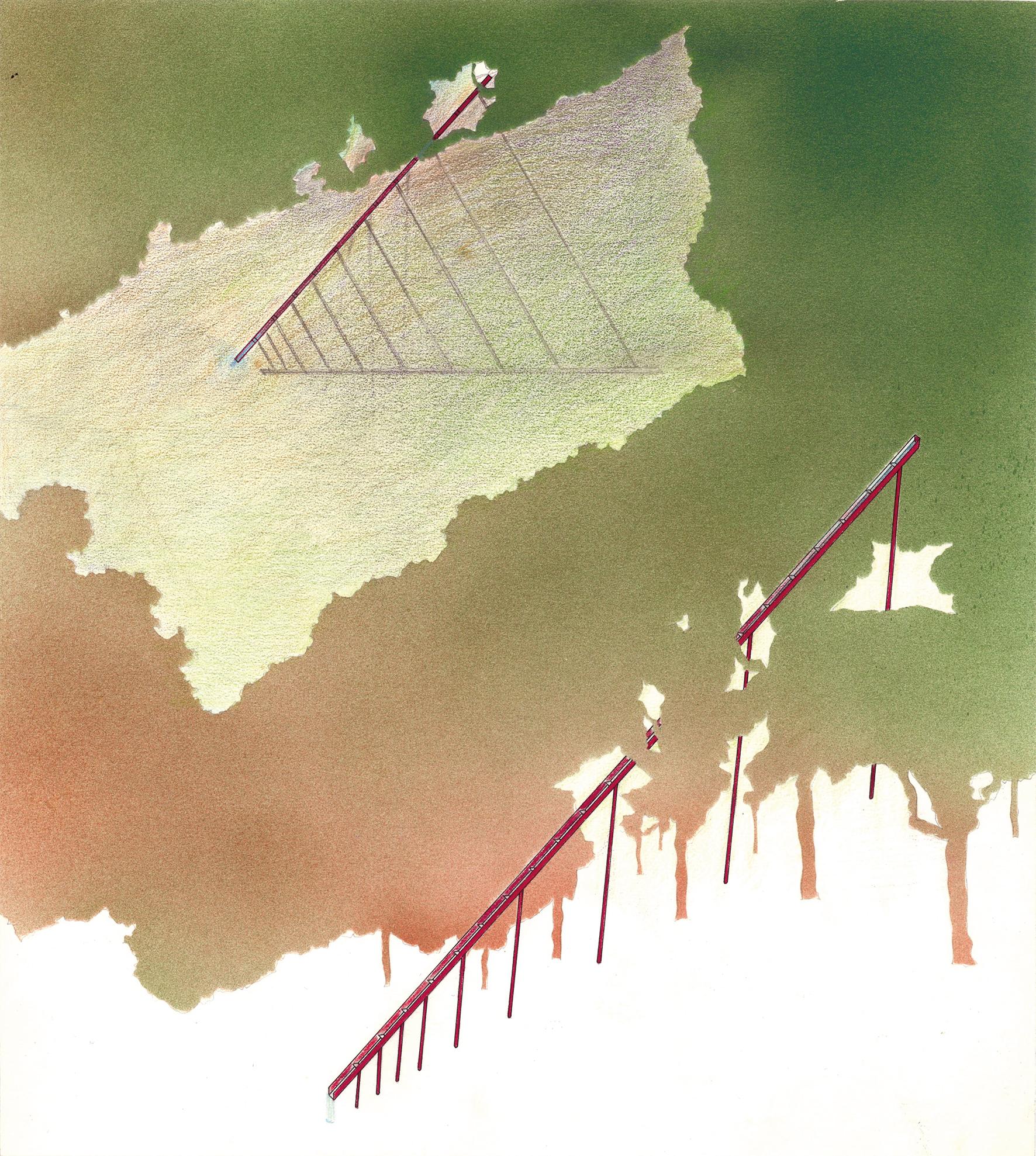 Station thermale, La Léchère (Savoie) No.7 , 1986 Airbrush painting, pencil on paper 30.3 x 27.2 cm