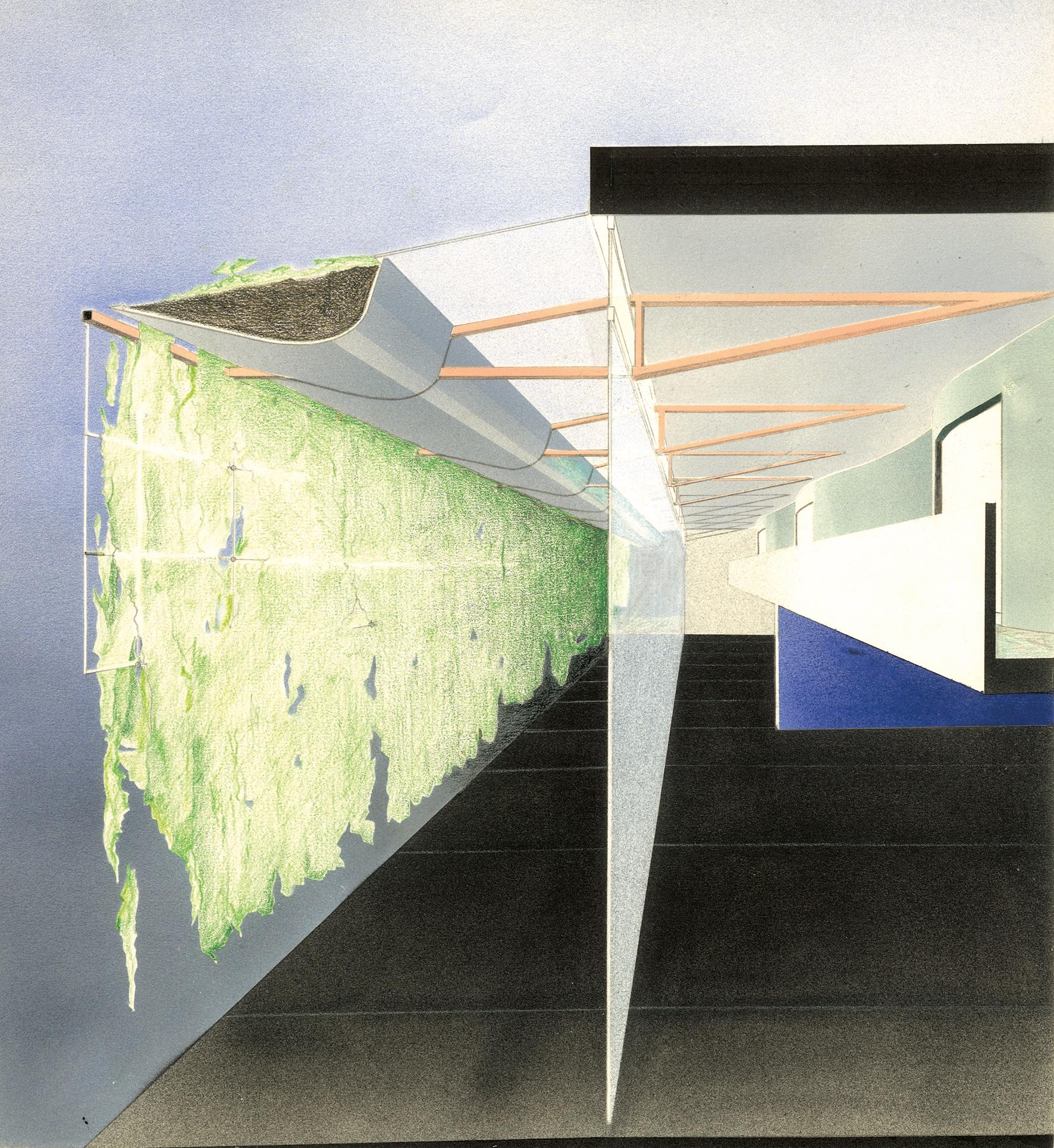 Station thermale, La Léchère (Savoie) No.127 , 1986 Airbrush painting, pencil on paper 30.3 x 27.2 cm