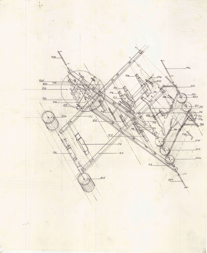 Beauty of Our Pain: Cross Fold (technical drawing) , 1995 graphite on tracing paper 35.5 x 43 cm